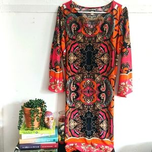 Haani Colorful Baroque Patterned Tunic Shift Dress